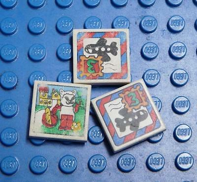 LEGO White Tile 2 x 2 Assorted Fabuland Stamp Patterns  x3PC