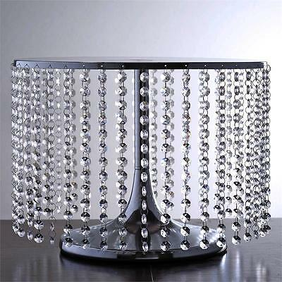 """SILVER METAL 12"""" tall Cake Stand with Crystal Pendants Party Wedding Reception"""