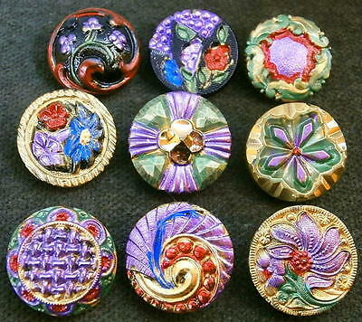 Collection of 9 Czech ANTIQUE (1920's) Glass Buttons #G463 - RARE !!!!!!!!!!!!!