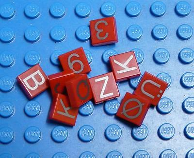 LEGO Assorted Tile 1x1 Red with Numbers Letters x10PC