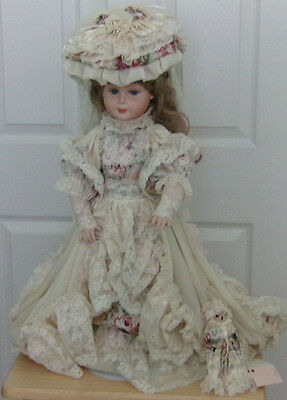 """Lovely TALL PORCELAIN DOLL in Victorian Tea Gown Roses Lace Trim w/Baby Bear 27"""""""