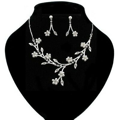 Stunning Silver Branches and White Pearl Daisy Necklace and Earring Set BNS58...