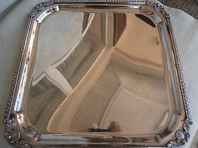 "Vintage Beautiful Silverplated Footed 14"" Square Serving Tray, F.b. Roger ."
