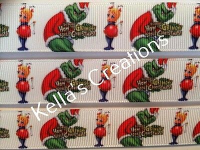 "Grinch Christmas 7/8"" Grosgrain Ribbon sold by 2 Yards - Craft - Hair - Gift"