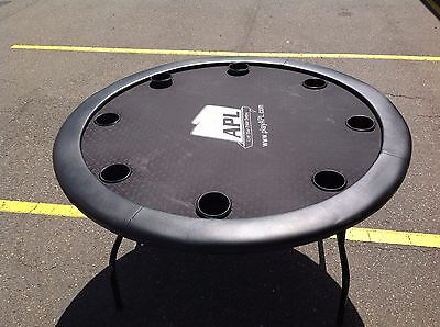 """60"""" Poker Table - Black Suited  With Pockets  - Apl"""