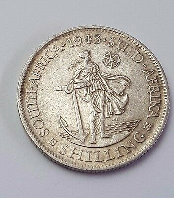 1943 - Silver - Shilling - South Africa - King George VI - Rare Coin