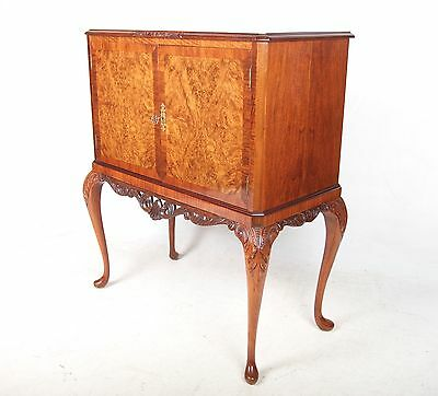 Antique Vintage Bar Cocktail Cabinet Walnut Drinks Glass Hostess