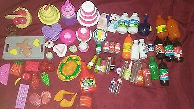 Lot of Barbie or same size dolls food and drinks