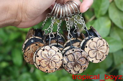 10 Plumeria Flower Coconut Shell Wood Wooden Keychains Key Chains Wholesale