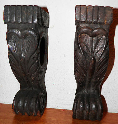 Antique Victorian Late 1800s Pair CORBELS - Wooden Ornate Architectural Salvage