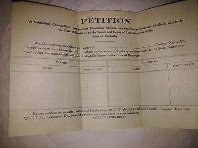 2 Petition forms prohibiting sale and manufacture of alcoholic beverage/liquors