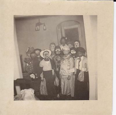 African American Photo Children in Halloween Costumes Trick or Treating
