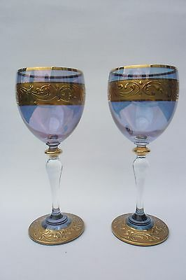 Stunning Pair Of Contemporary Gilded Blue Glass Luster Effect Wine Glasses