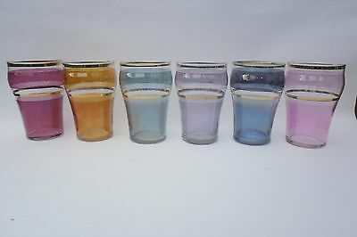 Vintage Coloured And Gilded Harlequin Luster Effect Glass Tumblers Set Of 6