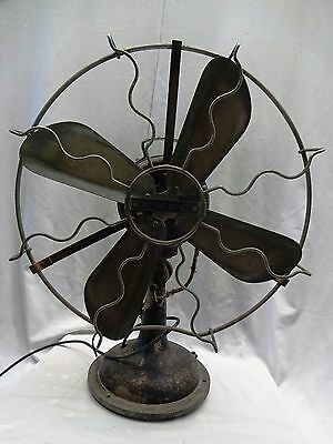 Antique Fan Emco Ocilliating Vintage Electric Table Fan With Brass Net/blades
