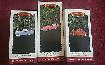 Lot of 3 Hallmark Keepsake Classic All American Cars Ornaments With Boxes NIB