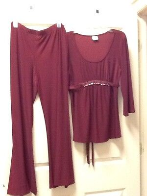 Motherhood Women's Formal Burgundy Pants Outfit Sz XL