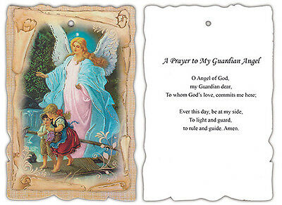 Guardian Angel with Children on Bridge Wall Plaque with Guardian Angel Prayer