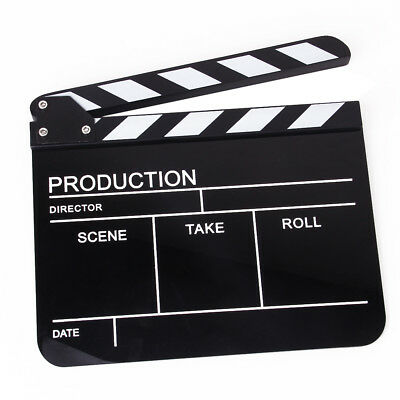 Acrylic Clap Clapper Clapperboard Board TV Film Movie Action Scene Slate