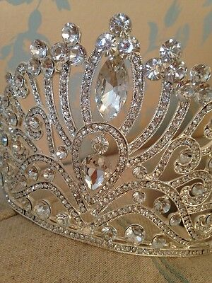 10 Cms High Silver Tiara Crown . Wedding / Prom/ Stage / Beauty Pageant Crown