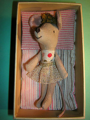 "MAILEG ""little sister"" in Box ""Mouse race"" mit Bettchen Nostalgie Vintage"