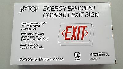 TCP LED Exit Sign with Battery 22743 RED LED NEW UNIVERSAL MOUNT Dual Sided