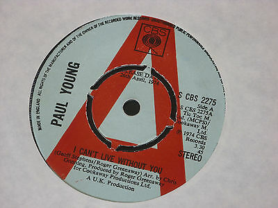 """Paul Young  – I Can't Live Without You  PROMO  7""""   EX SHOP"""