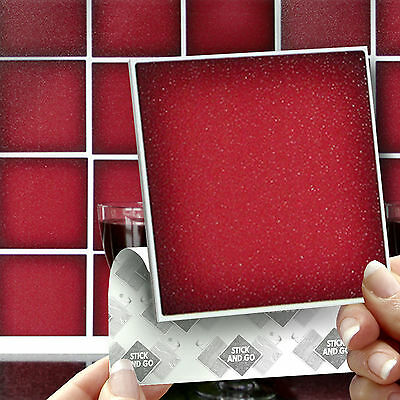 18 Stick & Go Red Stick On Wall Tiles For Kitchens or Bathrooms, Self Adhesive
