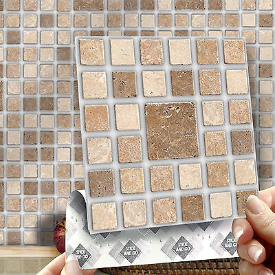 8 Stick & Go Roman Mosaic Stick On Wall Tiles for Kitchens & Bathrooms