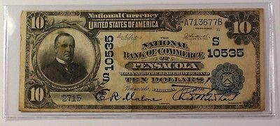 Series of 1902 $10 National Currency Banknote Pensacola Florida Charter # 10535