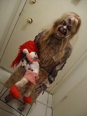 """Cyber Monday Zombie Girl With Doll 50"""" Standing Halloween Prop."""