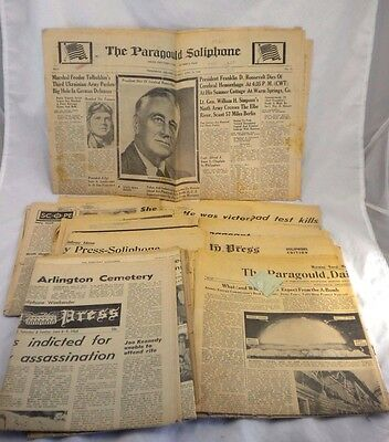 10 Newspaper Lot Paragould AR Soliphone Daily Press 1940-1960s Presidents Deaths
