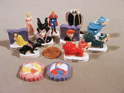 Disney Sleeping Beauty with Maleficent as a Dragon! set Porcelain French Feves