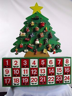 """Wooden Christmas Advent Calender Toys Cabinet 24 doors 16"""" x 12"""" Shelf or Hang"""