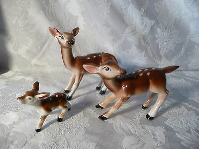 Vintage 1950's Two Deer and Fawn  Set Clover Mark Japan