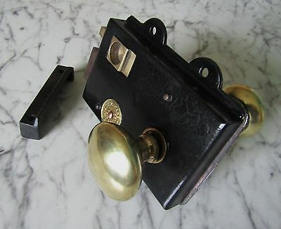 VINTAGE EDWARDIAN THUMB RIM LOCK with BRASS HANDLE - Registered No 75288