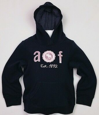 Girls A&F Abercrombie & Fitch Navy Applique Logo Grapic Hoodie Age 5-6 Yrs BNWT