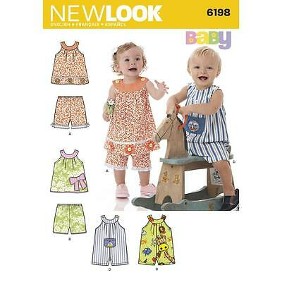 NEW LOOK Sewing Pattern Infants Toddlers Top+Shorts+Rompers~6198 Sz NB-Lg