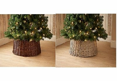 Wicker Christmas Tree Skirt, Natural / Dark Wood