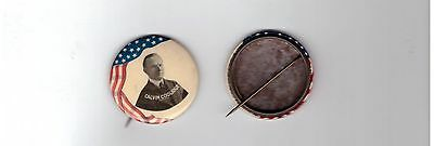 "Classic 1924 Campaign Calvin COOLIDGE 1 3/4"" MULTI COLOR CELLULOID Pin Button"