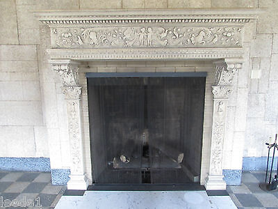 Exquisite French Carved Limestone Mantel Architectural Cherubs Flora Fauna
