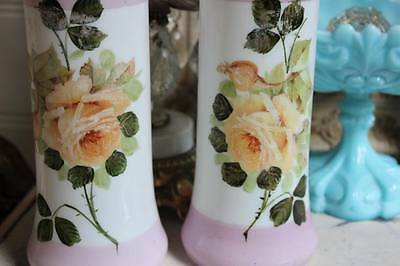 ANTIQUE PAIR SHAbbY PINK MILK GLASS HP ROSES MANTLE VASE TWO
