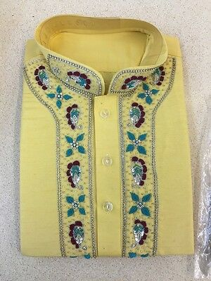 Shalwar Kameez Mens Embroidery Band Collar Yellow Sizes XL, L, M, S