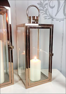 Small Tea Light Lantern Holder Candle Style Garden Antique French Copper Vintage
