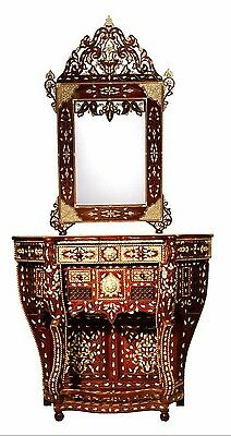 Console & Mirror Antique Syrian Moroccan Handmade Inlay with MOP Walunt wood