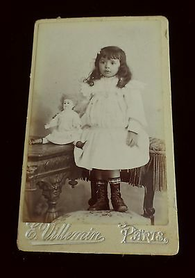 Antique French Photo - Cdv Girl With Her Old Doll - Poupee Ancienne