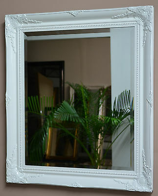 Glossy White Bevelled Wall Mirror 73cm x 63cm