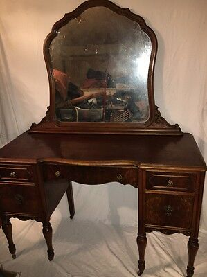 Antique Vintage Flame Mahogany Vanity Desk Dresser Dressing Table W/ Mirror