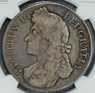 NG0263 Great Britain 1688 /7 Crown NGC VG 10 rare overdate combine shipping