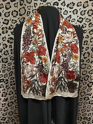 Vintage silk butterfly scarf, butterfly and flower print scarf
